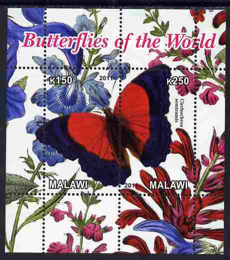 Malawi 2011 Butterflies of the World #5 perf sheetlet containing 2 values unmounted mint