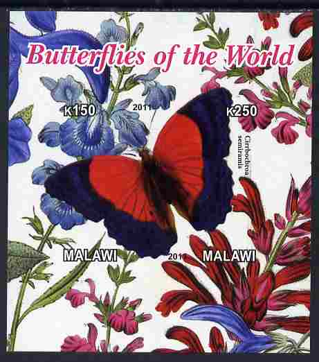 Malawi 2011 Butterflies of the World #5 imperf sheetlet containing 2 values unmounted mint