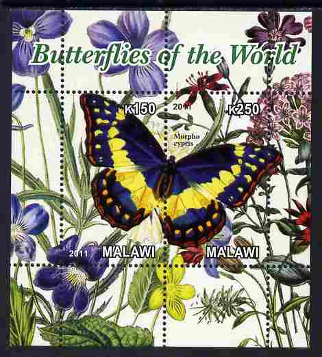 Malawi 2011 Butterflies of the World #6 perf sheetlet containing 2 values unmounted mint