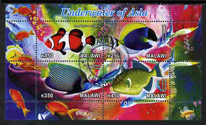Malawi 2011 Fishes of Asia #2 perf sheetlet containing 4 values cto used