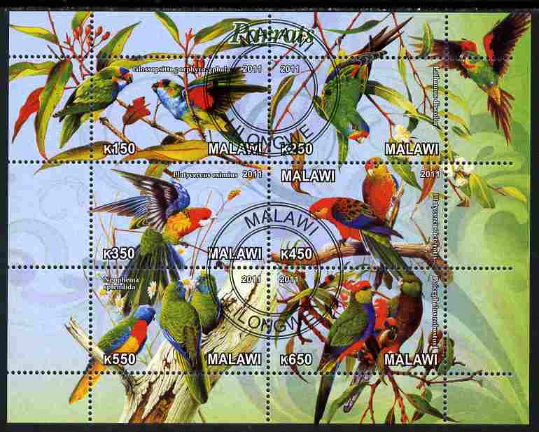 Malawi 2011 Parrots #1 perf sheetlet containing 6 values cto used