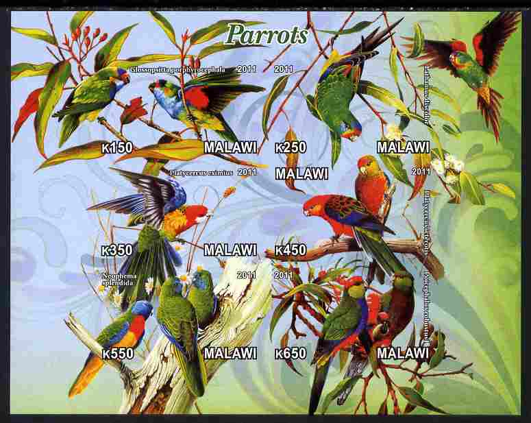 Malawi 2011 Parrots #1 imperf sheetlet containing 6 values unmounted mint