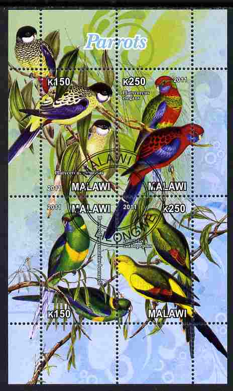 Malawi 2011 Parrots #2 perf sheetlet containing 6 values cto used