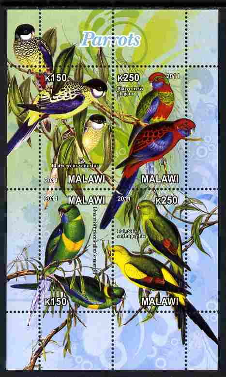 Malawi 2011 Parrots #2 perf sheetlet containing 6 values unmounted mint
