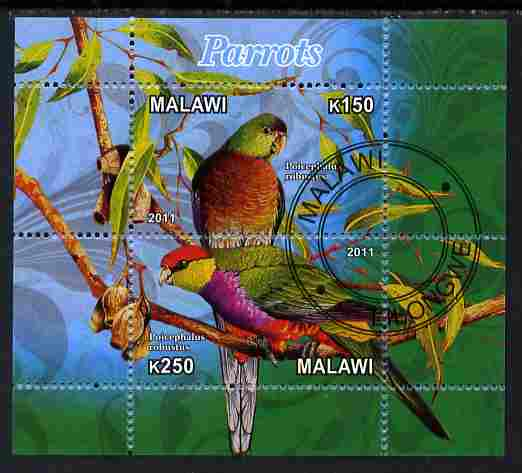 Malawi 2011 Parrots #3 perf sheetlet containing 2 values cto used
