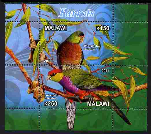 Malawi 2011 Parrots #3 perf sheetlet containing 2 values unmounted mint, stamps on birds, stamps on parrots