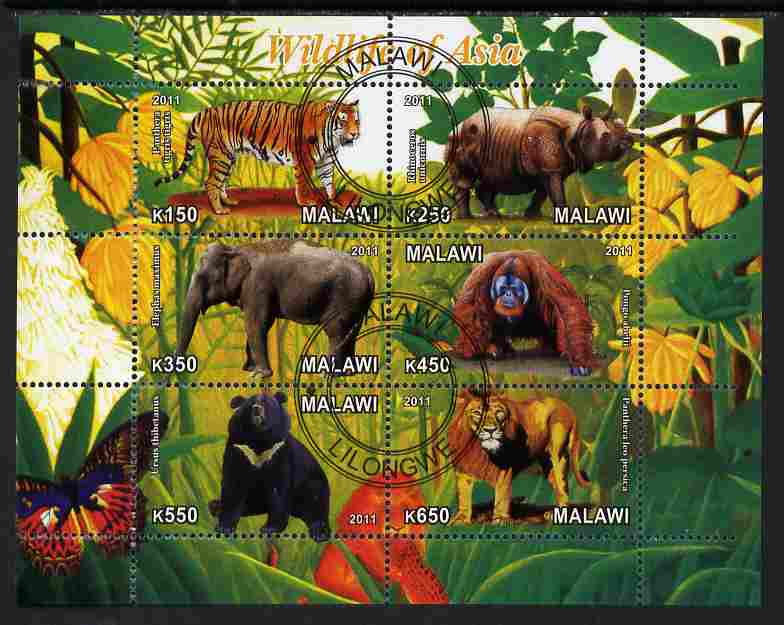 Malawi 2011 Wildlife of Asia #1 perf sheetlet containing 6 values cto used