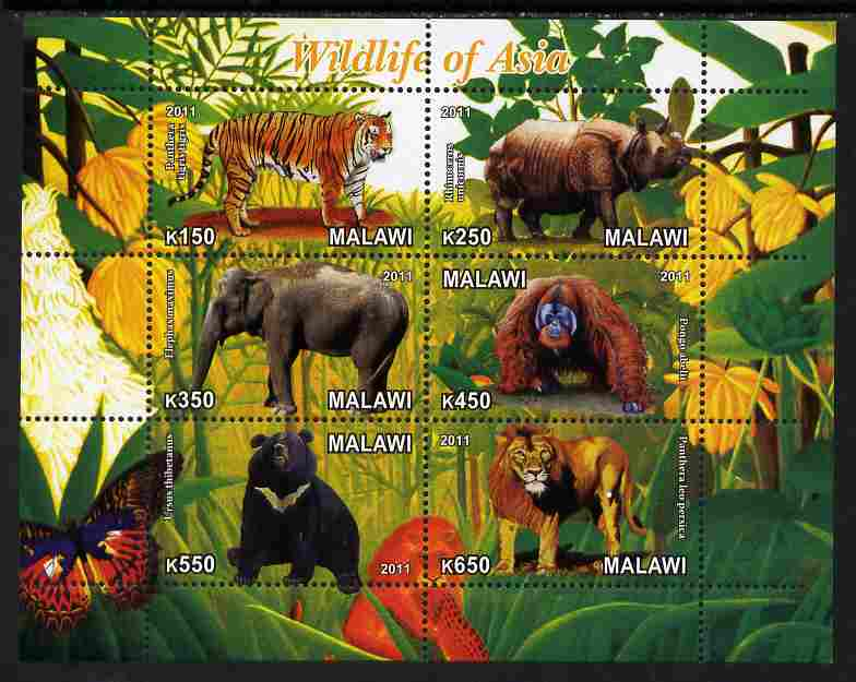 Malawi 2011 Wildlife of Asia #1 perf sheetlet containing 6 values unmounted mint