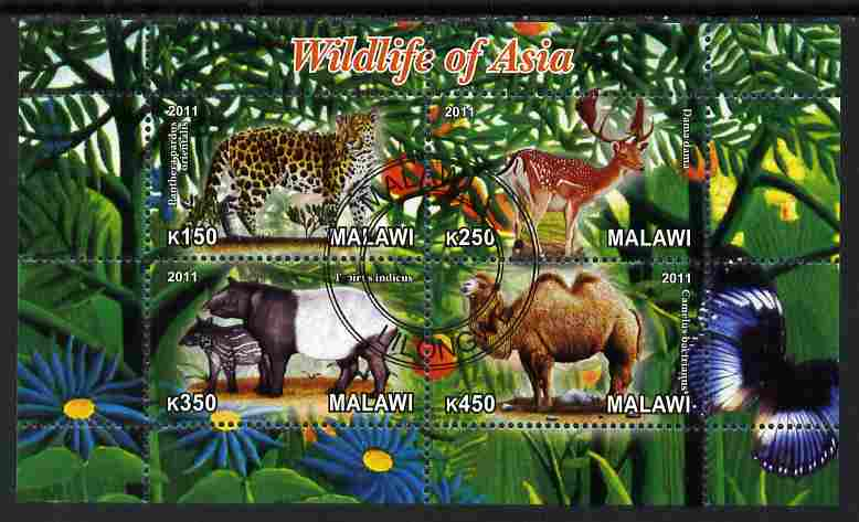 Malawi 2011 Wildlife of Asia #2 perf sheetlet containing 4 values cto used