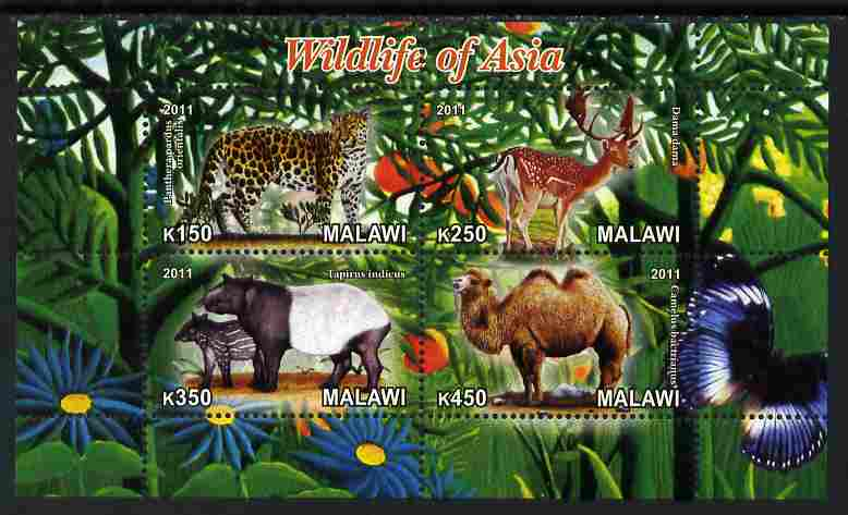 Malawi 2011 Wildlife of Asia #2 perf sheetlet containing 4 values unmounted mint