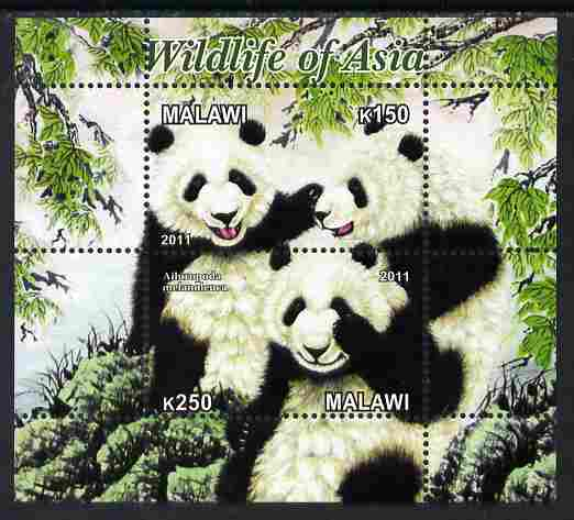 Malawi 2011 Wildlife of Asia #3 - Pandas perf sheetlet containing 2 values unmounted mint