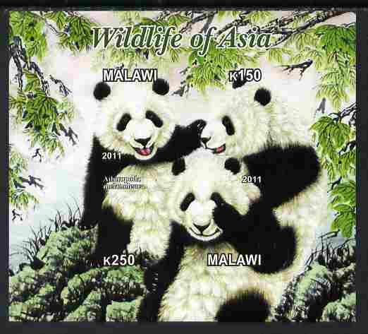 Malawi 2011 Wildlife of Asia #3 - Pandas imperf sheetlet containing 2 values unmounted mint