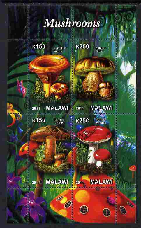 Malawi 2011 Mushrooms #1 perf sheetlet containing 4 values cto used