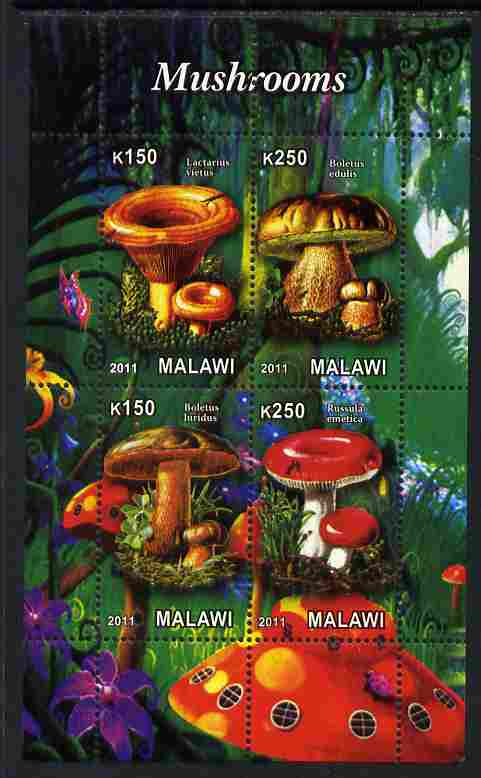 Malawi 2011 Mushrooms #1 perf sheetlet containing 4 values unmounted mint