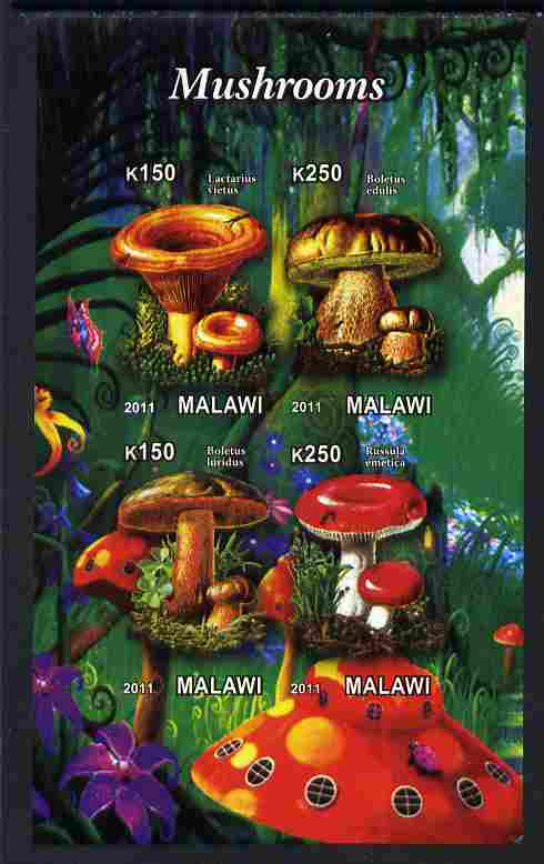 Malawi 2011 Mushrooms #1 imperf sheetlet containing 4 values unmounted mint