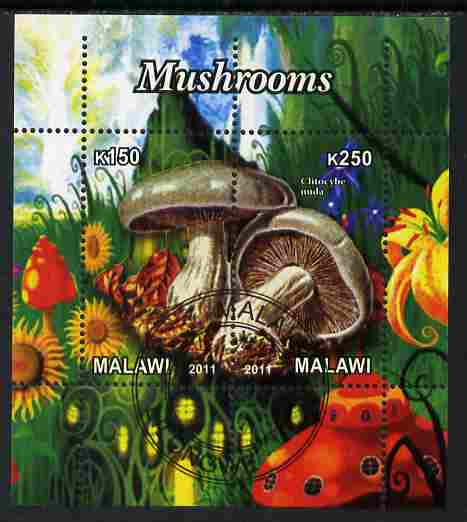 Malawi 2011 Mushrooms #2 perf sheetlet containing 2 values cto used