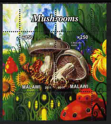 Malawi 2011 Mushrooms #2 perf sheetlet containing 2 values unmounted mint