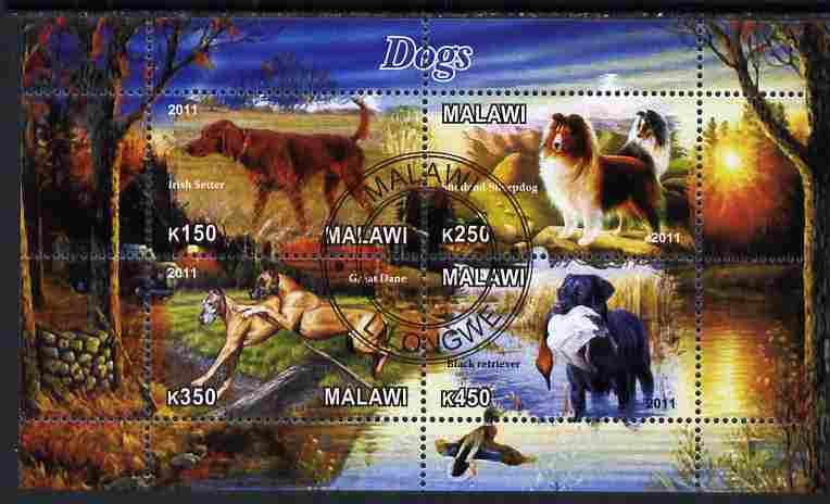 Malawi 2011 Dogs perf sheetlet containing 4 values cto used