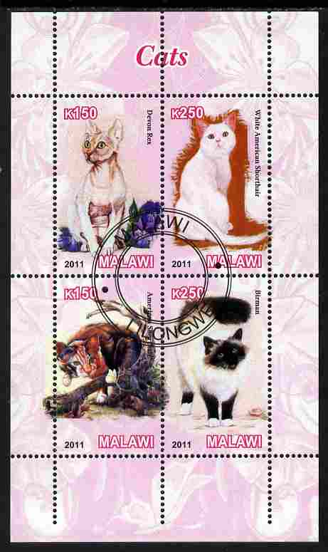 Malawi 2011 Domestic Cats perf sheetlet containing 4 values cto used