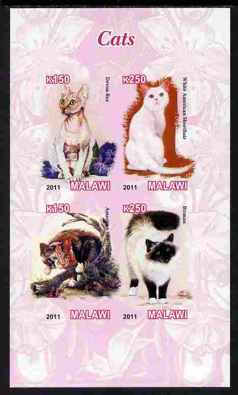 Malawi 2011 Domestic Cats imperf sheetlet containing 4 values unmounted mint