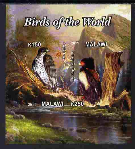 Malawi 2011 Birds of the World #1 imperf sheetlet containing 2 values unmounted mint