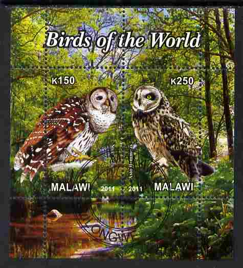 Malawi 2011 Birds of the World #3 - Owls perf sheetlet containing 2 values cto used