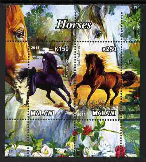 Malawi 2011 Horses perf sheetlet containing 2 values unmounted mint