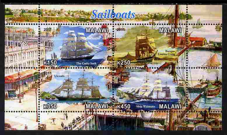 Malawi 2011 Tall Ships perf sheetlet containing 4 values unmounted mint