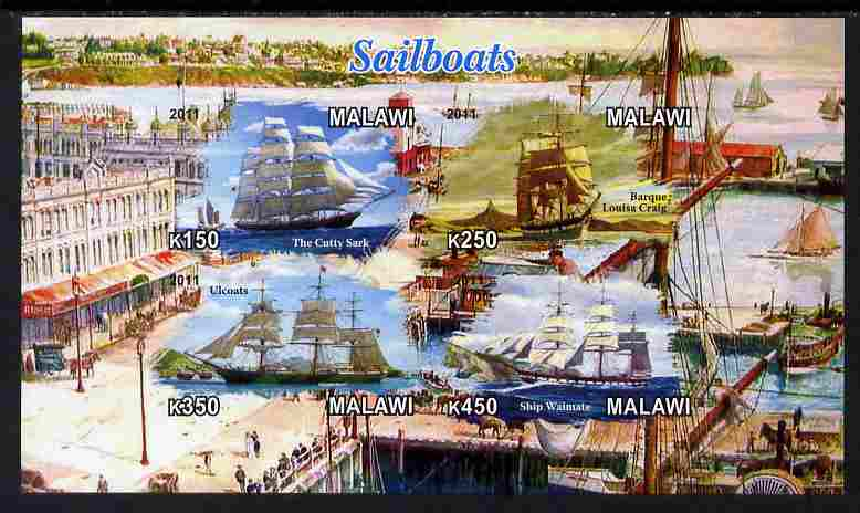 Malawi 2011 Tall Ships imperf sheetlet containing 4 values unmounted mint