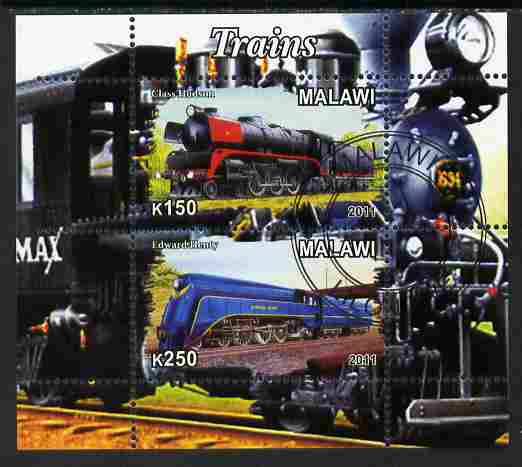 Malawi 2011 Steam Locomotives #1 perf sheetlet containing 2 values cto used