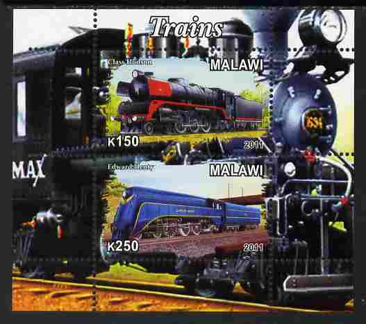 Malawi 2011 Steam Locomotives #1 perf sheetlet containing 2 values unmounted mint