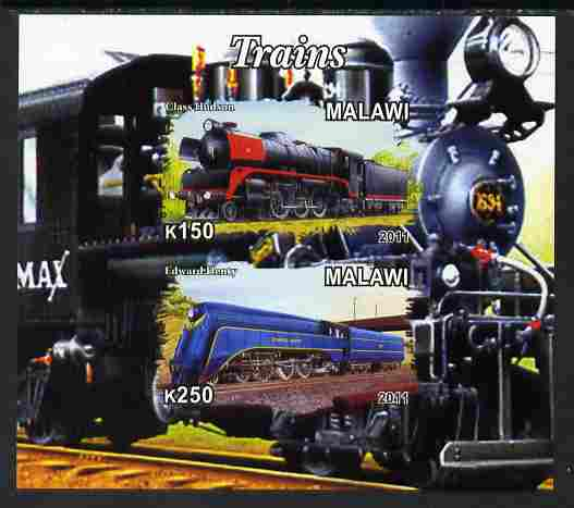 Malawi 2011 Steam Locomotives #1 imperf sheetlet containing 2 values unmounted mint