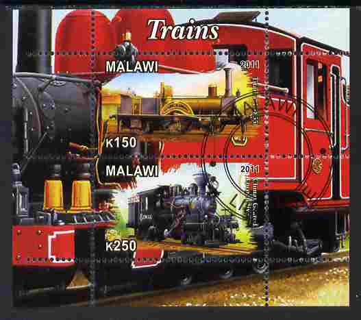 Malawi 2011 Steam Locomotives #2 perf sheetlet containing 2 values cto used