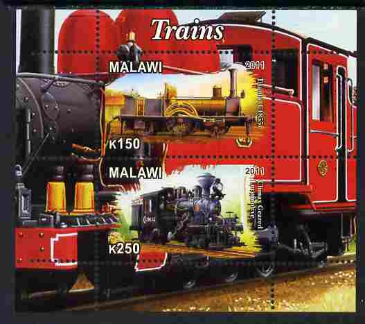 Malawi 2011 Steam Locomotives #2 perf sheetlet containing 2 values unmounted mint