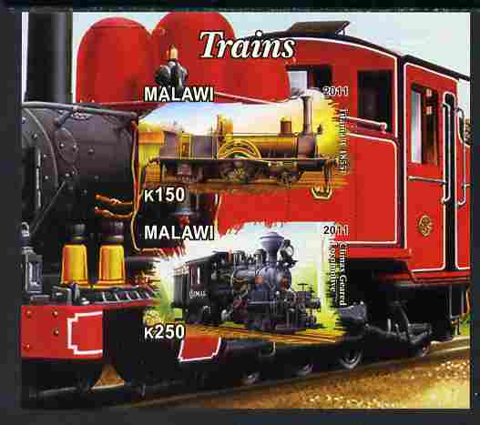 Malawi 2011 Steam Locomotives #2 imperf sheetlet containing 2 values unmounted mint