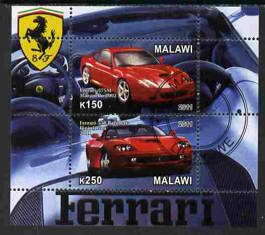 Malawi 2011 Ferrari #1 perf sheetlet containing 2 values cto used