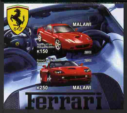 Malawi 2011 Ferrari #1 imperf sheetlet containing 2 values unmounted mint