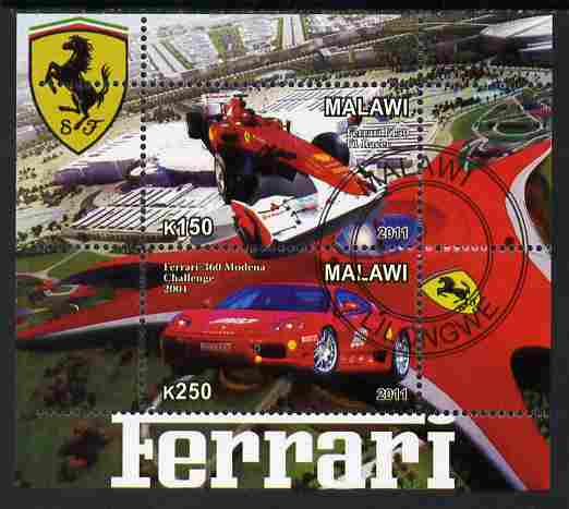 Malawi 2011 Ferrari #2 perf sheetlet containing 2 values cto used