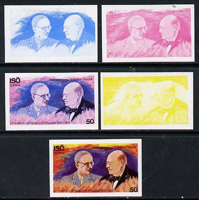 Iso - Sweden 1974 Churchill Birth Centenary 50 (with Pres Truman) set of 5 imperf progressive colour proofs comprising 3 individual colours (red, blue & yellow) plus 3 and all 4-colour composites unmounted mint