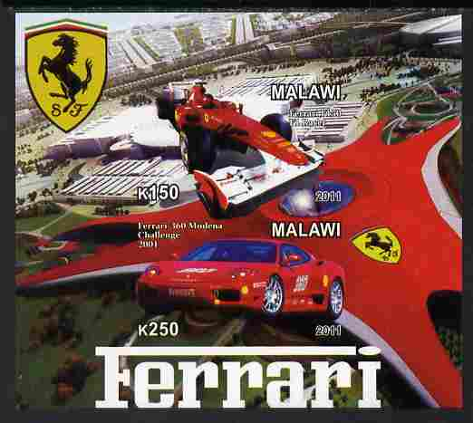 Malawi 2011 Ferrari #2 imperf sheetlet containing 2 values unmounted mint