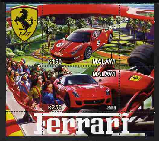 Malawi 2011 Ferrari #3 perf sheetlet containing 2 values unmounted mint