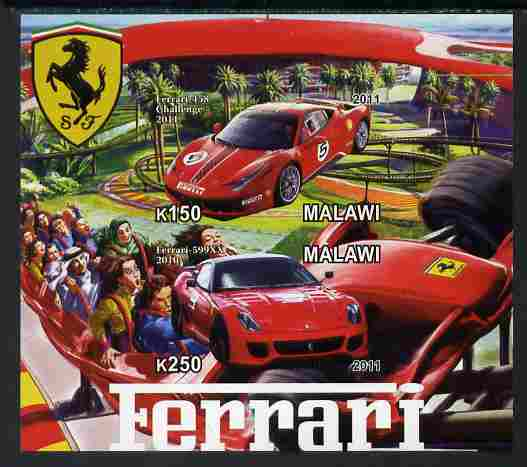 Malawi 2011 Ferrari #3 imperf sheetlet containing 2 values unmounted mint