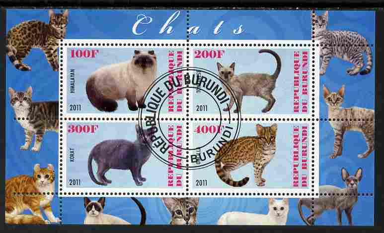 Burundi 2011 Domestic Cats #6 - pale blue background perf sheetlet containing 4 values fine cto used
