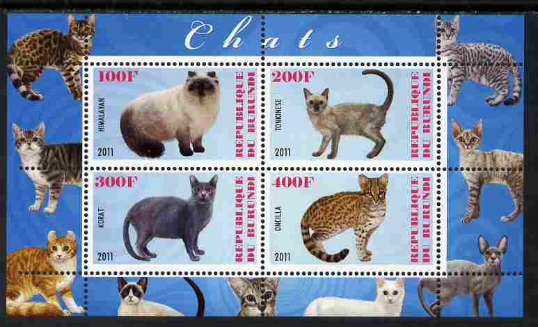 Burundi 2011 Domestic Cats #6 - pale blue background perf sheetlet containing 4 values unmounted mint