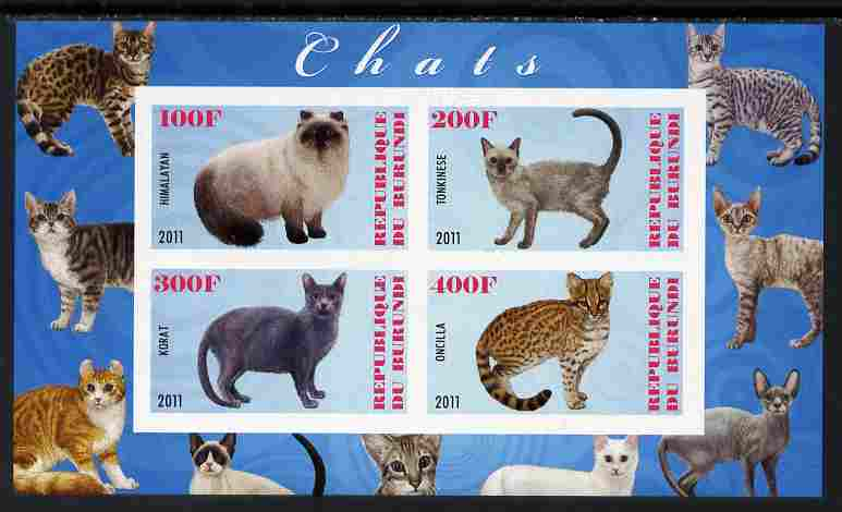Burundi 2011 Domestic Cats #6 - pale blue background imperf sheetlet containing 4 values unmounted mint