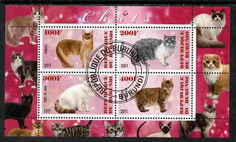 Burundi 2011 Domestic Cats #7 - cerise background perf sheetlet containing 4 values fine cto used