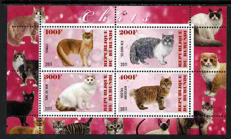 Burundi 2011 Domestic Cats #7 - cerise background perf sheetlet containing 4 values unmounted mint