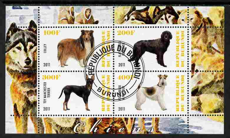Burundi 2011 Dogs #1 - perf sheetlet containing 4 values fine cto used