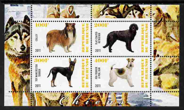 Burundi 2011 Dogs #1 - perf sheetlet containing 4 values unmounted mint