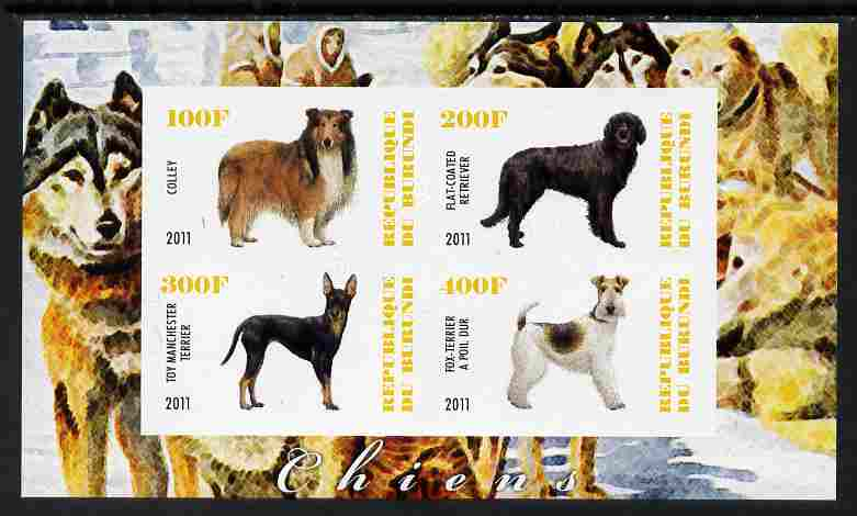 Burundi 2011 Dogs #1 - imperf sheetlet containing 4 values unmounted mint